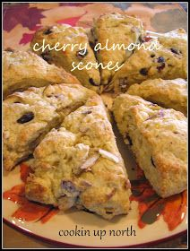 cookin' up north: Cherry Almond Scones Breakfast Scones, Breakfast Recipes, Dessert Recipes, Breakfast Club, Breakfast Ideas, Dried Cherry Scones Recipe, Scones And Clotted Cream, Almond Bread, Almond Pastry