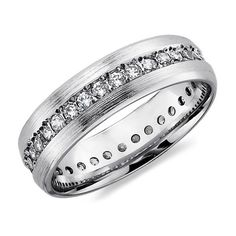 Blue Nile Brushed Diamond Eternity Womens Wedding Ring in 14K White Gold found on Polyvore