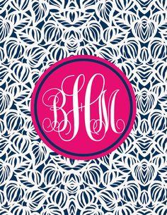 Monogram Binder Cover & spine Quatrefoil Personalised Monogram ...