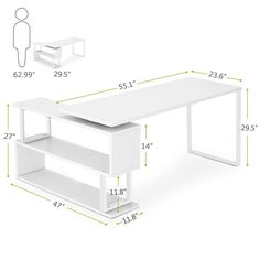 Tribesigns Modern L Shaped Desk 55 Rotating Corner Computer Desk Study Writing Table Workstation with Bookshelves for Home Office Use White Cyber Monday 2015 Folding Furniture, Office Furniture Design, Diy Furniture Plans, Smart Furniture, Types Of Furniture, Office Interior Design, Metal Furniture, Office Interiors, Modern Furniture