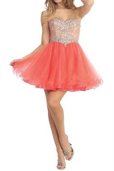 Prom Dresses, Homecoming Dresses, Formal Dresses, coral prom dresses, jeweled prom dresses, short prom dresses, party dresses, pageant dresses, fancy dresses, strapless dresses, sweetheart dresses