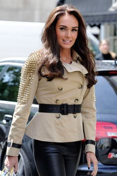 Love this Burberry jacket! And her hair & makeup!!