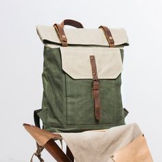 College Backpacks, Canvas Travel Backpack, School Shoulder Bag, Designer Bags Model Number: Dimensions: x x / (L) x x (H) Material: Waterproof Waxed Oil Canvas + Full Grain Leather Shoulder Strap: Adjustable Color: Green&Grey / White&Green Application Mk Handbags, Kate Spade Handbags, Kate Spade Purse, Leather Purses, Leather Handbags, Leather Backpack For Men, Leather Backpacks, Canvas Travel Bag, Shoulder Bags For School
