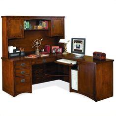 kathy ireland home by martin mission pasadena rhf lshape wood desk with hutch