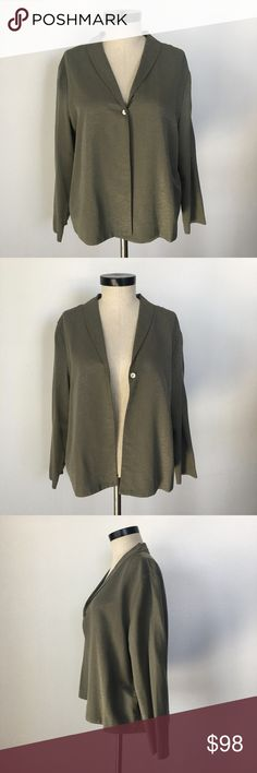 "Eileen Fisher 100% Silk Two Piece Suit A beautiful light silk Eileen Fisher suit. 100% silk. Olive green color. Fabric has slight textured. Excellent like new condition 9.5/10. No holes, rips, or stains. Please see ALL photos and measurements.  Size: Eileen Fisher M  Shoulder seam to shoulder: 18"" Bust: 21"" Base of back collar to hem: 24"" Underarm to hem: 13"" Shoulder to sleeve: 23""  Elastic Waist: Unstretched 15.5""  Inseam: 33""  Outseam: 42""  Leg Opening: 9.5""  Front Rise: 13""  Back Rise…"