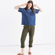 Denim is a seven-days-a-week deal for us and this easy top is just another way we're doing it. Fun fact: The raw-hemmed tee is sewn and stonewashed before a member of our jeans team removes the pocket for a lovingly worn-in look. <ul><li>True to size.</li><li>Cotton.</li><li>Machine wash.</li><li>Import.</li><li>Madewell.com only.</li></ul>