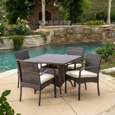 Outdoor Best Selling Home Decor Furniture Grace Wicker 5 Piece Square Patio Dining Set with Cushion - 295858
