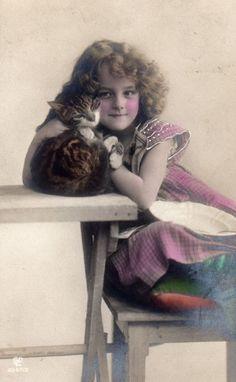 アンティーク ポストカード*猫と美少女 - 雑貨 -【garitto】