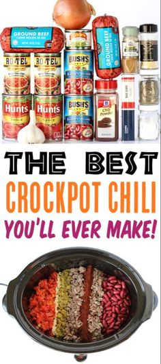 Crockpot Chili Recipe {BEST Chili Ever!} Crockpot Chili Recipe {BEST Chili Ever! Best Chili you'll ever make! This award winning chili is loaded with flavor your friends and family. Best Chili Recipe, Chilli Recipes, Beef Recipes, Slow Cooker Recipes, Cooking Recipes, Soupy Chili Recipe, Southern Chili Recipe, Flavorful Chili Recipe, Best Easy Chili Recipe