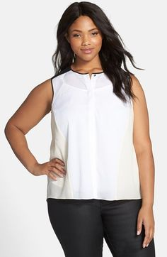 DKNYC DKYNC Colorblock Sleeveless Blouse (Plus Size) available at #Nordstrom
