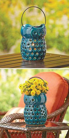 "9"" Owl Lantern, Blue"