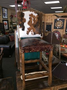 Cowhide Bar Stool Western Chairs Hair On Hide Chair Rustic Furniture Pinterest And