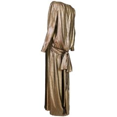 Vintage Valentino Gold Lame Evening Gown Dress w/Oversized Bow Detail | From a collection of rare vintage evening dresses and gowns at https://www.1stdibs.com/fashion/clothing/evening-dresses/