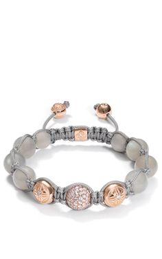 Grey Moonstone Bracelet With White Diamond Pave by Shamballa Jewels