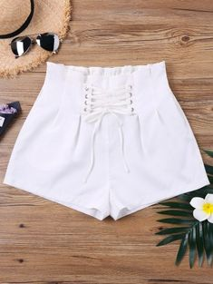 Mini shorts features lace-up details, elastic waist with ruffle and high waist design. Pair it with your beautiful blouse or basic tee. It is a must-have piece that is essential to every woman's wardrobe. Mini Shorts, Lace Shorts, White Shorts, Short Shorts, White Spandex Shorts, Girl Outfits, Cute Outfits, Fashion Outfits, Short Court