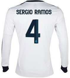 ADIDAS SERGIO RAMOS REAL MADRID LONG SLEEVE HOME JERSEY 2012/13