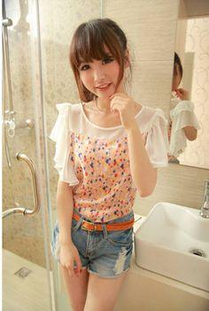 Stylish White print dot cute clothing