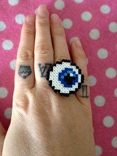 Mini Hama Bead 8 Bit PIxel Eyeball Ring  Geek