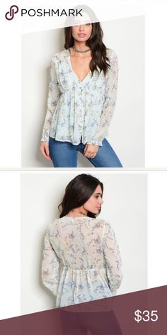 Light Aqua Floral Blouse Light Aqua Floral Top Long sleeve V-neck front floral print chiffon babydoll blouse. Fabric: 100% Polyester Tops Blouses