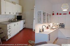 ennen/jälkeen,ennen ja nyt,pieni koti,keittiö,vanha talo