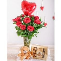 Red Roses in a Vase, with a Teddy, Chocolates & Balloon for Valentine's Day or any romantic occasion! International Florist, The Whole Nine Yards, Rose In A Glass, Rose Vase, Send Flowers, Gift Hampers, Valentine Day Love, Online Gifts, Shopping Hacks