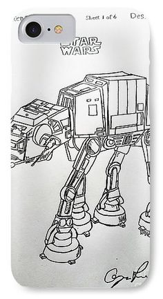 Vintage 1982 STAR WARS AT-AT Patent amazing graphite pencil sketched art from the art studio of Scott D Van Osdol available at fineartsamerica.com