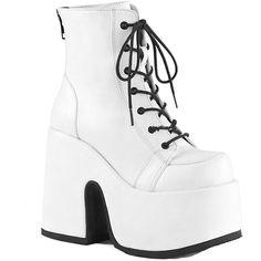 8cfedfdd7f1d Hell s Boutique - Women s Demonia CAMEL-203 Platform Ankle Boot White Goth  Pastel Goth Festival