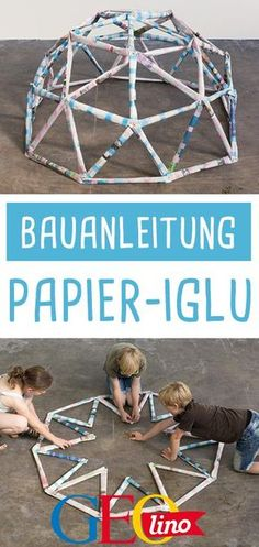 Building an igloo: Instructions for children-Iglu bauen: Anleitung für Kinder GEOlino shows you how to make one builds from newspapers. With photos and step-by-step instructions! Arts And Crafts For Teens, Winter Crafts For Kids, Diy Projects For Teens, Diy For Teens, Upcycled Crafts, Diy Crafts For Kids, Fun Crafts, Simple Crafts, Craft Ideas