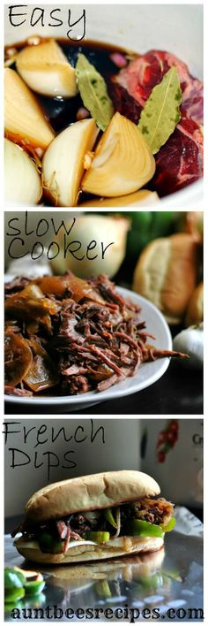 Easy Slow Cooker French Dips   Aunt Bee's Recipes