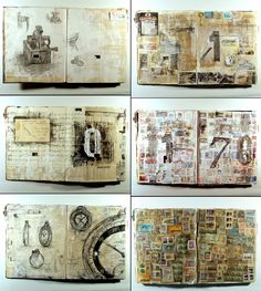 Time-Obsession Drawing Book by Edward Cheverton http://edwardcheverton.deviantart.com/ #mixed_media #journal #pages