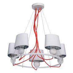 Moderne Hängeleuchte 5 flammig in Weiß MW-Light 103011505