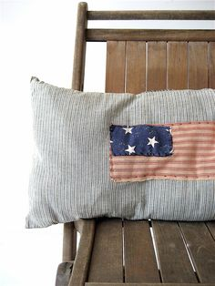 Vintage Ticking Flag Pillow by lovintagefinds on Etsy, $49.00