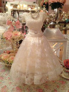 Miniature lace wedding dress www.thevintageroom.info