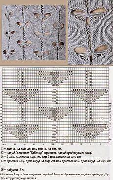 Любимая вышивка и вязание: Ажурный узор бабочка