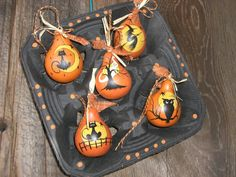 Set 5 Halloween dried Gourd Ornaments Hand by TheRootCellar