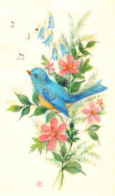 Vintage bluebird image i really must scan all grannys vintage bluebird card with glitter m4hsunfo Image collections
