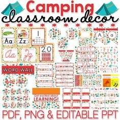 Bring some fun to your classroom by decorating it with this CAMPING themed classroom dcor materials pack - perfect for summer camp! You will find PDF, PNG and editable PowerPoint files in this pack - keep reading to find out what you can expect to receive:PDF FILES Alphabet Posters Binder Covers and Spines Bulletin Board Setup Bunting Calendar Squares Calendar Teacher Monthly Circle Numbers 0-35 Circle Numbers 1-12 Class Jobs Setup Color Posters Coupons Template Cursive Posters Days of the…