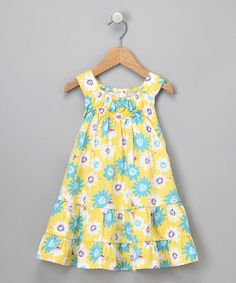 Take a look at this Yellow Floral Tiered Dress - Toddler & Girls  by Little Bitty on #zulily today!