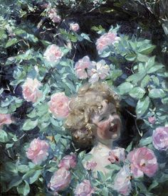 """Frank Bramley, R.A. (1857-1915), """"Among the Roses"""" - Walker Art Gallery ~ Liverpool, England"""