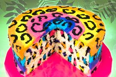 Rainbow Leopard Cake - Surprise Inside Video ~ Cookies, Cupcakes, and Cardio Cheetah Cakes, Leopard Cake, Leopard Spots, Pink Zebra, Leopard Party, Cookies Cupcakes And Cardio, Cupcake Cookies, Nutella Cupcakes, Crazy Cakes