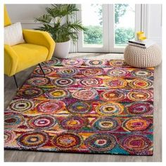 """Safavieh Fiesta Shag Collection Geometric Circles Abstract Art Multicolored Area Rug 1 """" x 6 """") Casual Family Rooms, Modern Family Rooms, Flokati Rugs, Shag Rugs, Peach Walls, Geometric Circle, Accent Rugs, Online Home Decor Stores, Online Shopping"""