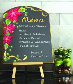 Poinsettia Holiday Menu Board -- 'Tis the season for food, family. and fun  #decoartprojects