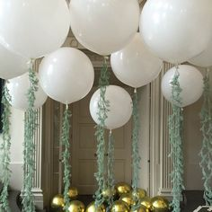 Giant White With Green Tassel Balloons
