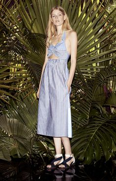 Mix of stripes cotton dress, with openwork and elasticated back strap