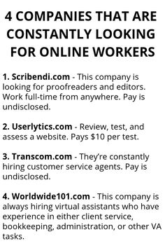 4 Companies That Are Constantly Looking For Online Workers - Wisdom Lives Here Exactly how to make money online. Legit methods to earn money as well as easy earnings online. Exactly how to earn money online. Ways To Earn Money, Earn Money From Home, Earn Money Online, Way To Make Money, How To Make, Online Earning, Quick Money, Money Today, Money Tips
