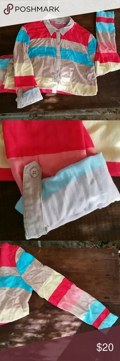Cato xl colorful striped 100% rayon long sleeve super cute and colorful shirt light weight has buttons to roll the sleeves up and keep them up. Cato Tops Button Down Shirts