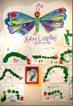 Cute idea for Eric Carle! Balloon caterpillar prints...and then have students draw all the different types of food the caterpillar ate to become the butterfly!