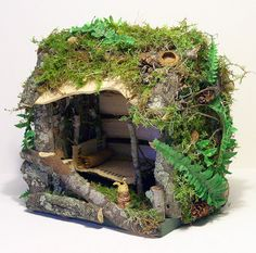 Woodland Cottage Fairy House Ferns Moss and by BetweenTheWeeds etsy