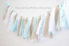 Tiffany Blue, Burlap and Lace Shabby Chic Rag Tie Garland-Wedding Garland-Bridal Shower Garland-Baby Shower Garland-Nursery Garland