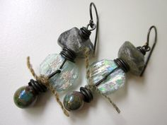 Inner Weather - ancient pale aqua blue Roman glass shards, pearly lavender lampwork glass drops, labradorite nuggets, & black brass earrings by LoveRoot, $41.00